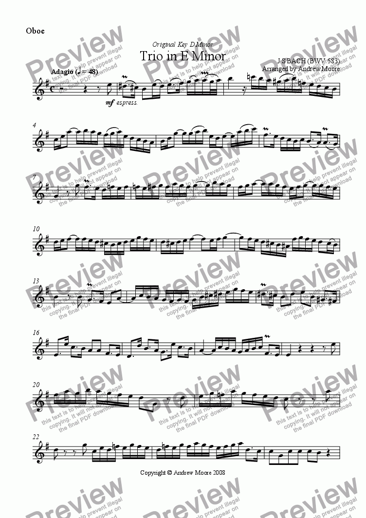 page one of the Oboe part from Trio in E minor BWV 583 for Wind Trio
