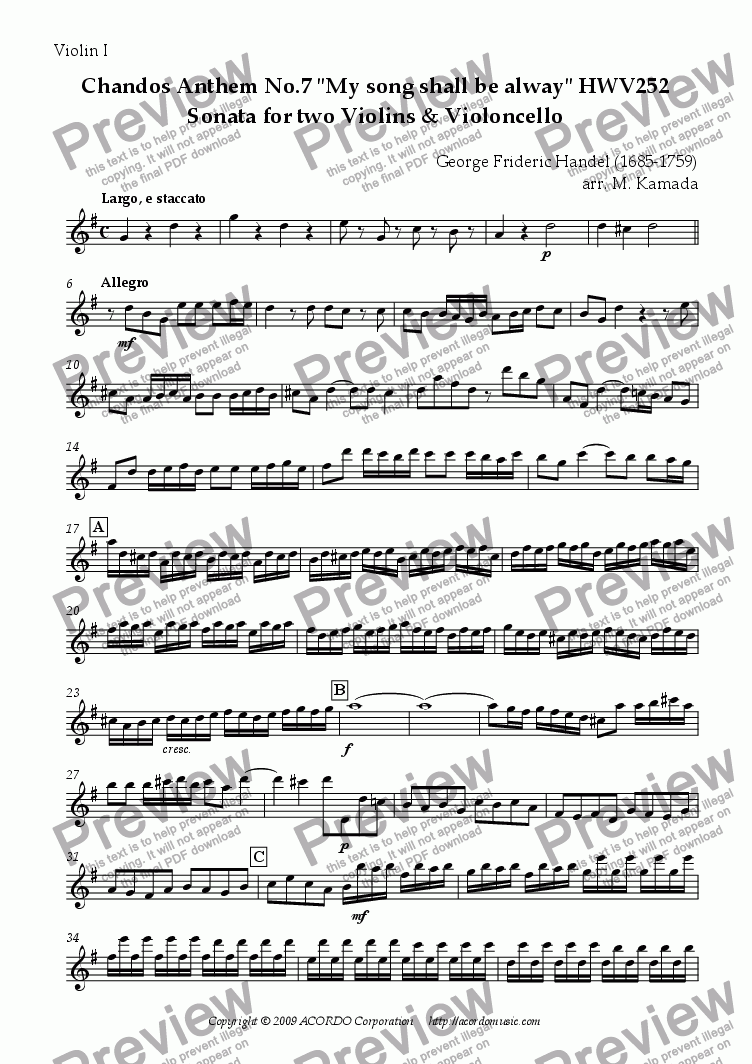 "page one of the Violin I part from Chandos Anthem No.7 ""My song shall be alway"" HWV252 Sonata for two Violins & Violoncello"