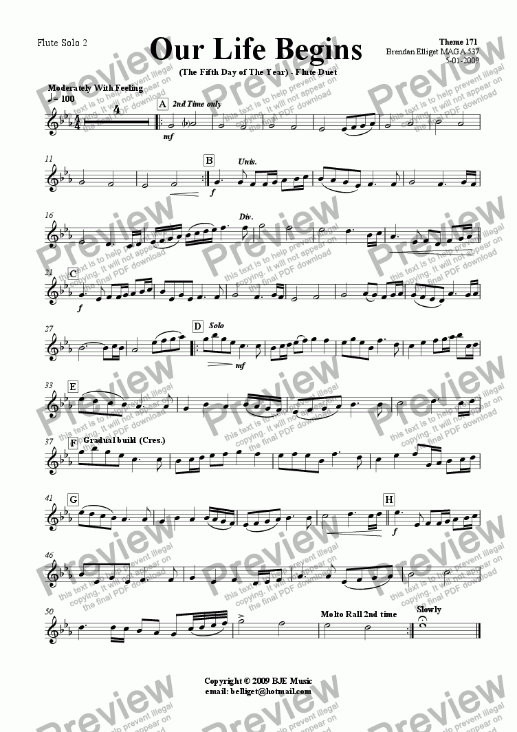 page one of the Flute 2 part from Our Life Began (The Fifth Day of The Year) - Flute Duet with Piano