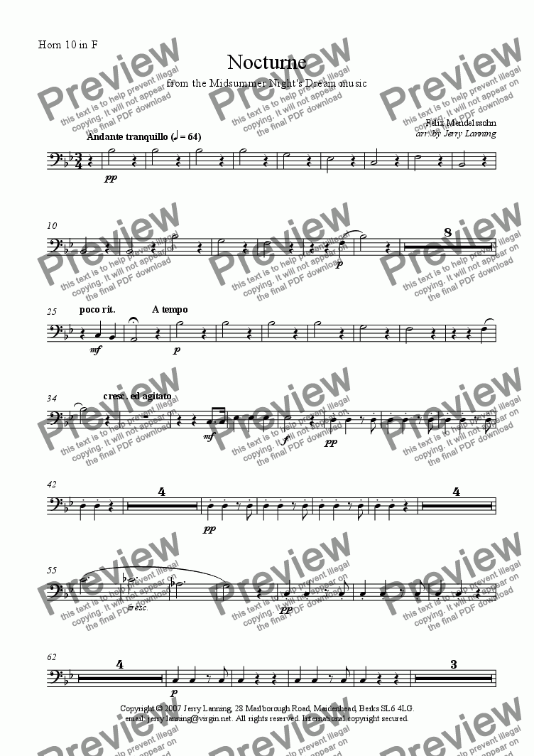 page one of the Horn 10 in F part from Nocturne from Midsummer Night's Dream (10 Horns)