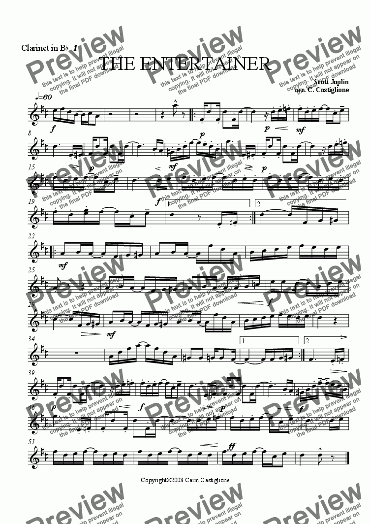 page one of the Clarinet 1 part from The Entertainer