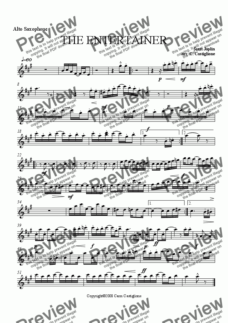 page one of the Alto Sax part from The Entertainer