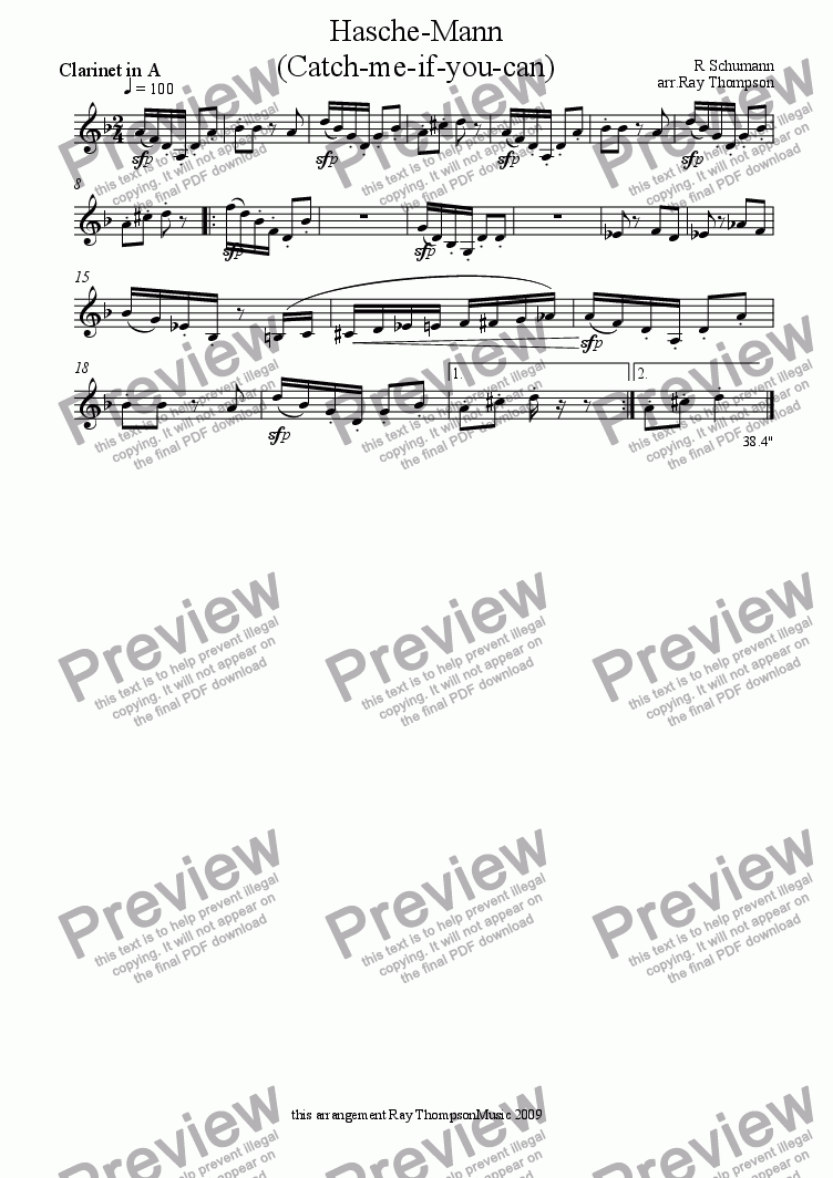 page one of the Clarinet in A part from Kinderscenen(Scenes from Childhood) op.15: 3.Hasche-Mann (catch me if you can) from