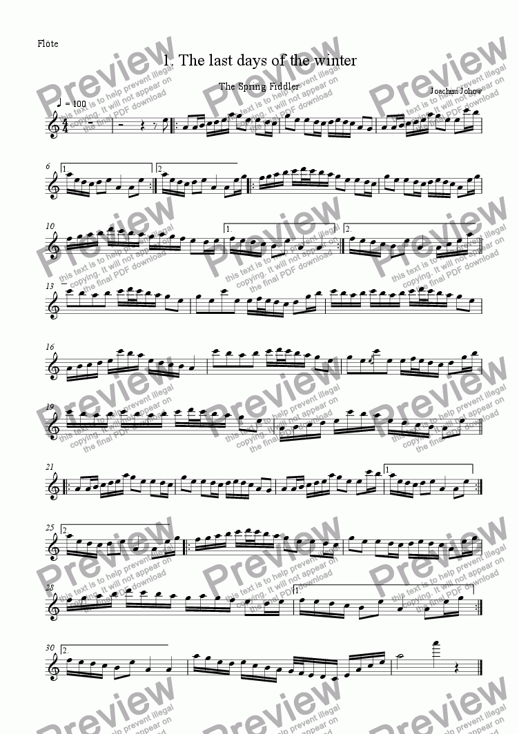 page one of the Fl part from Spring Fiddler 01 (The last days of the winter)