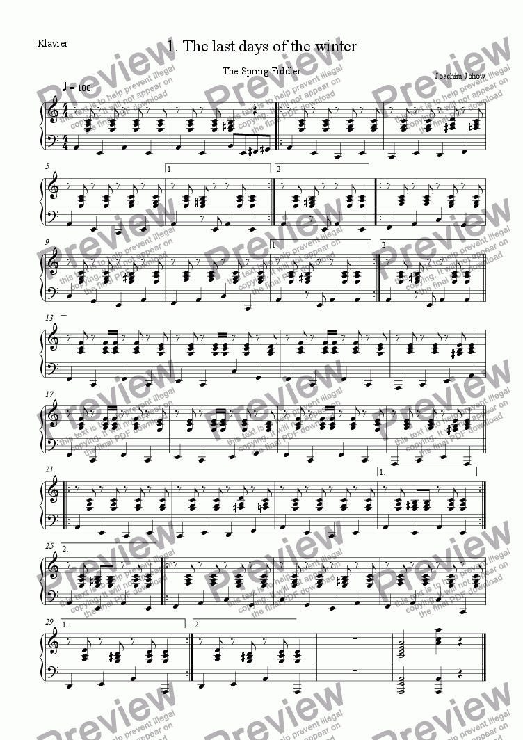 page one of the Piano part from Spring Fiddler 01 (The last days of the winter)
