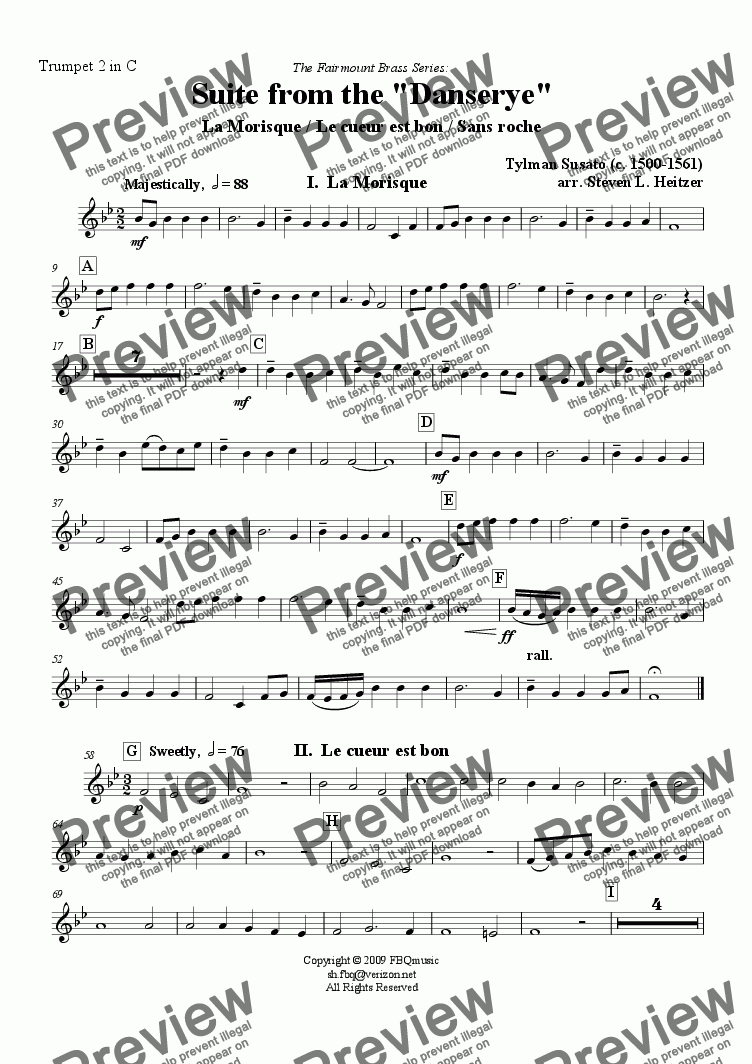 page one of the Trumpet 2 in C part from Suite from the Danserye (3 movements) - Trumpet QUARTET