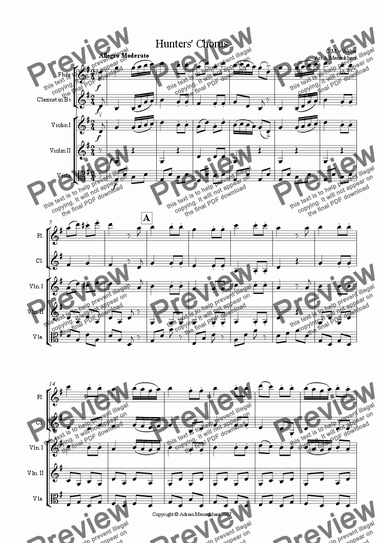 page one of the Violin 1 part from Hunters' Chorus - For Flute, Clarinet and String Trio