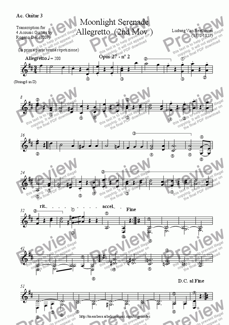 page one of the Guitar 3 part from Beethoven - Moonlight Serenade - Allegretto (2nd Mov.) - Guitar TRIO
