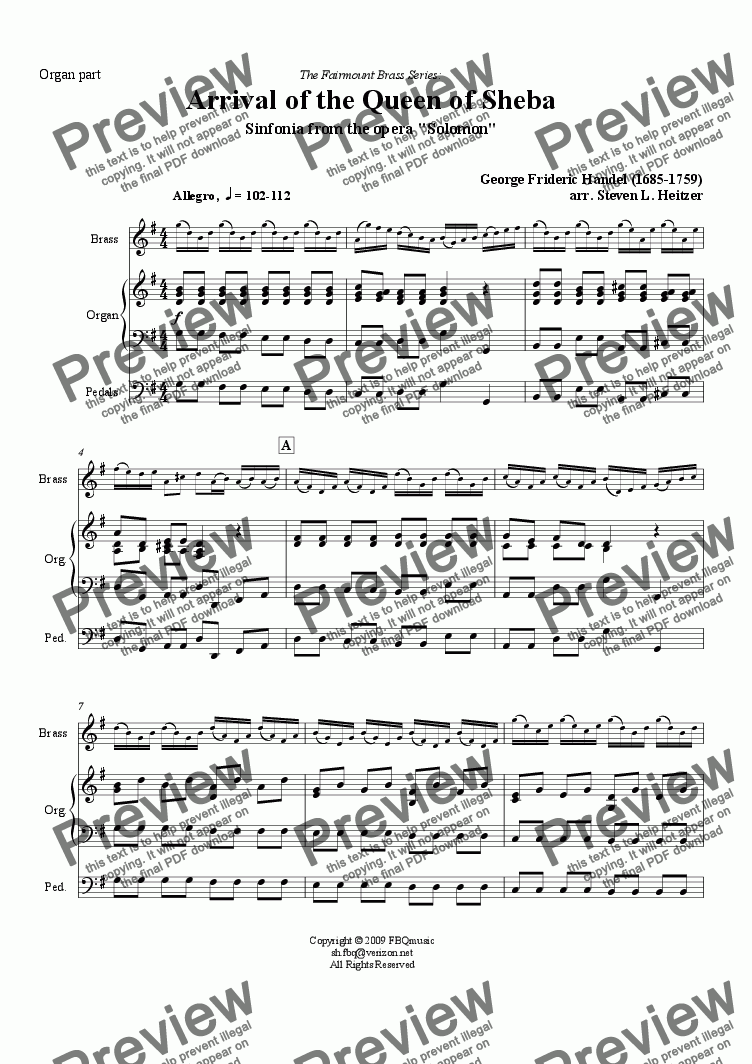page one of the Organ part part from Arrival of the Queen of Sheba (from Solomon) - Brass QUINTET & Organ
