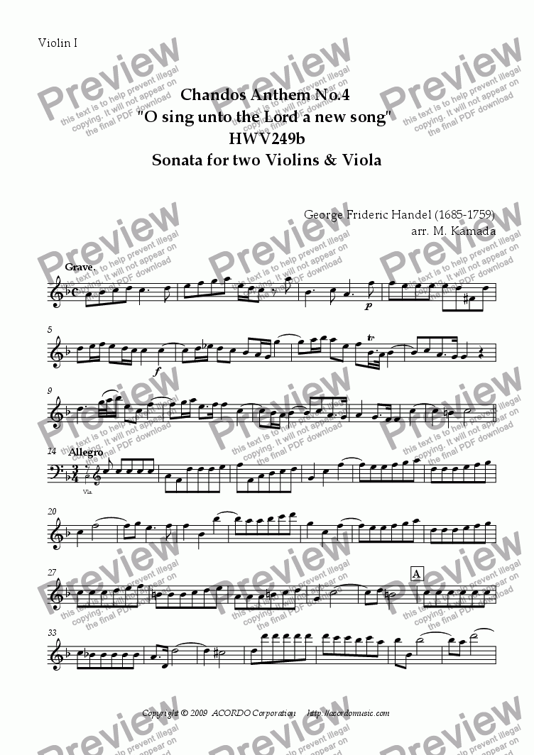 "page one of the Violin I part from Chandos Anthem No.4 ""O sing unto the Lord a new song"" HWV249b Sonata for two Violins & Viola"