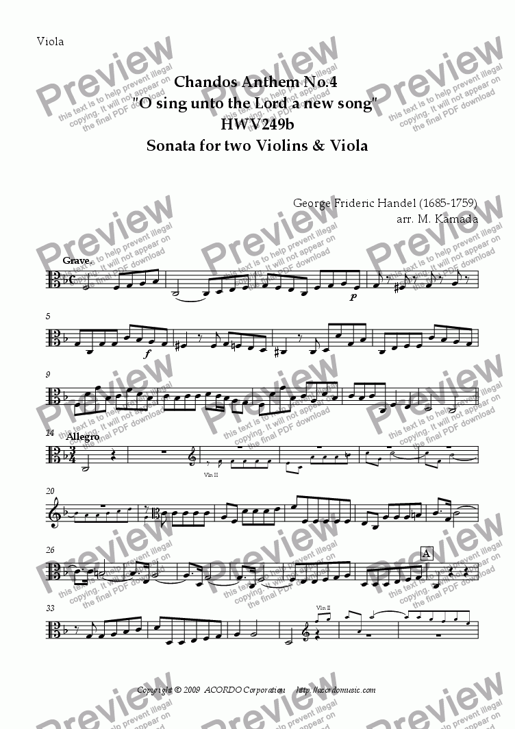 "page one of the Viola part from Chandos Anthem No.4 ""O sing unto the Lord a new song"" HWV249b Sonata for two Violins & Viola"