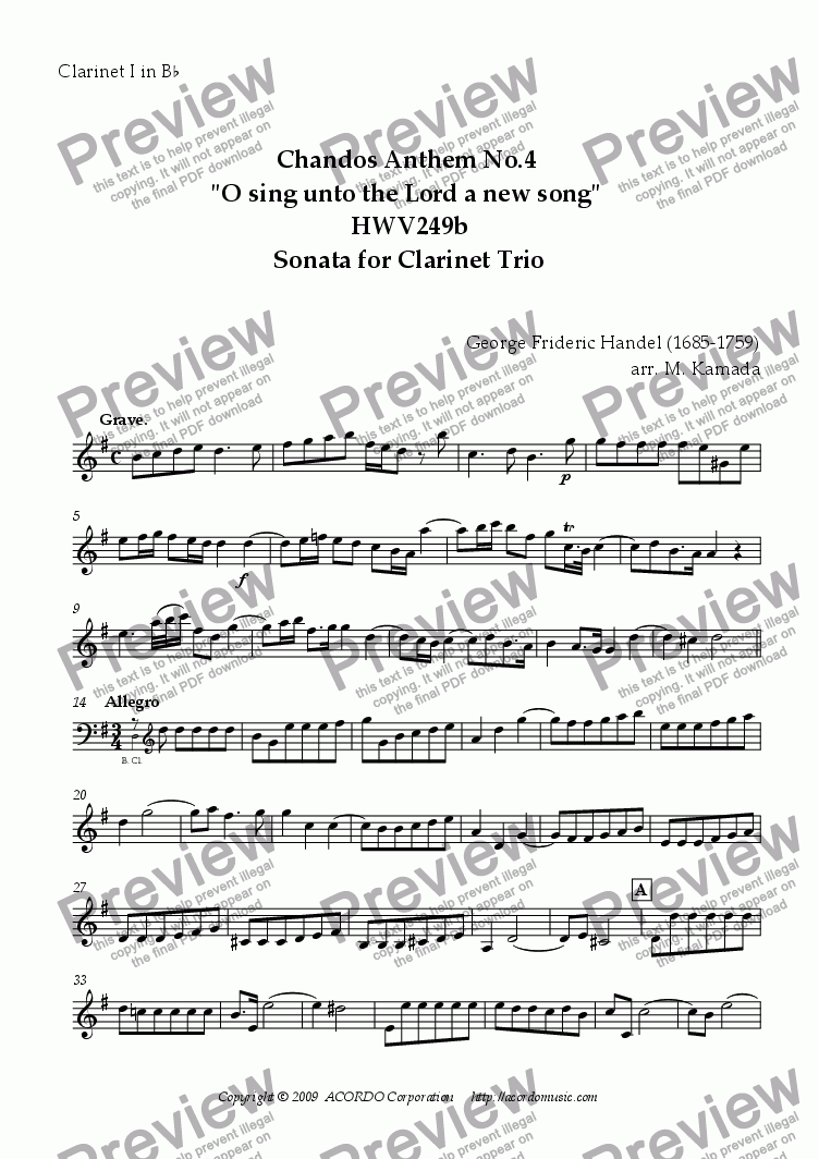 "page one of the Clarinet I in Bb part from Chandos Anthem No.4 ""O sing unto the Lord a new song"" HWV249b Sonata for Clarinet Trio"