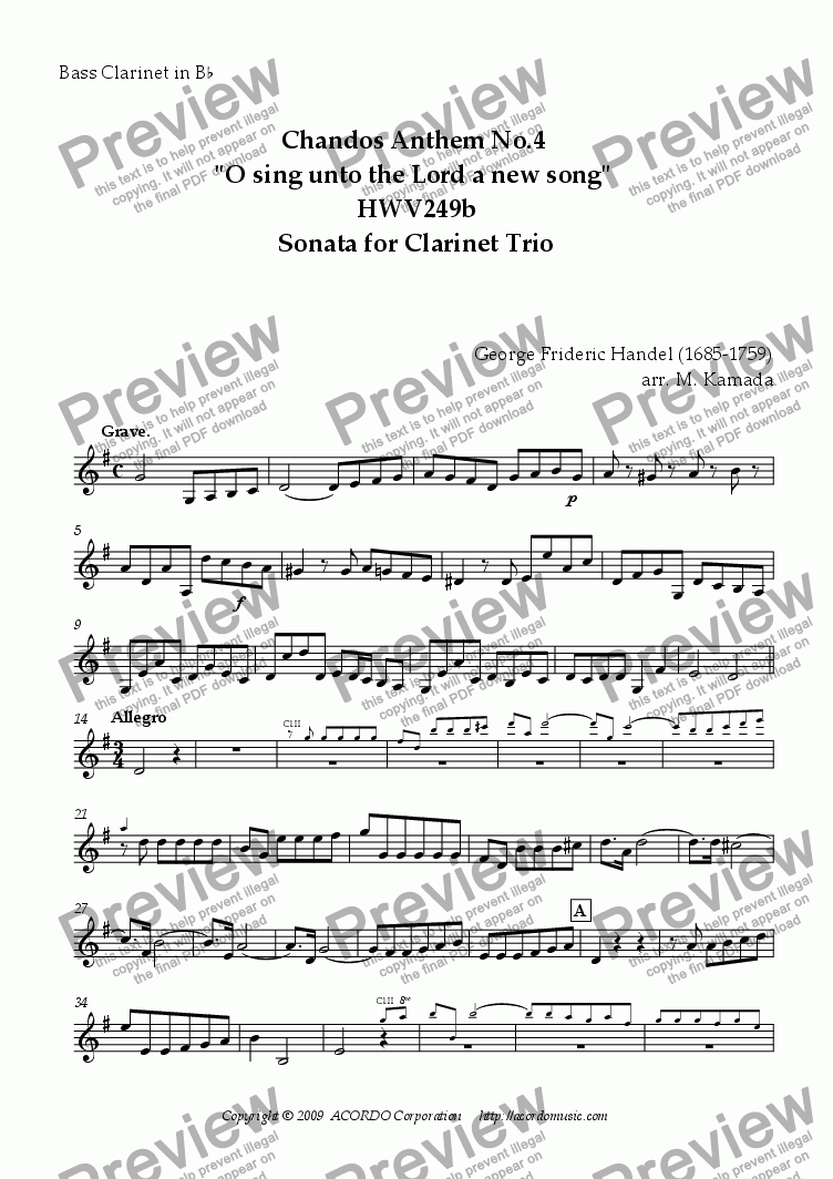 "page one of the Bass Clarinet in Bb part from Chandos Anthem No.4 ""O sing unto the Lord a new song"" HWV249b Sonata for Clarinet Trio"