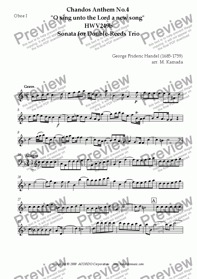 "page one of the Oboe I part from Chandos Anthem No.4 ""O sing unto the Lord a new song"" HWV249b Sonata for Double-Reeds Trio"