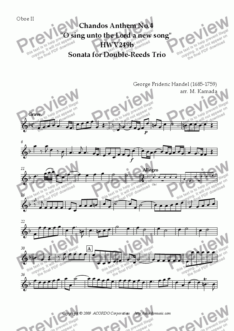 "page one of the Oboe II part from Chandos Anthem No.4 ""O sing unto the Lord a new song"" HWV249b Sonata for Double-Reeds Trio"