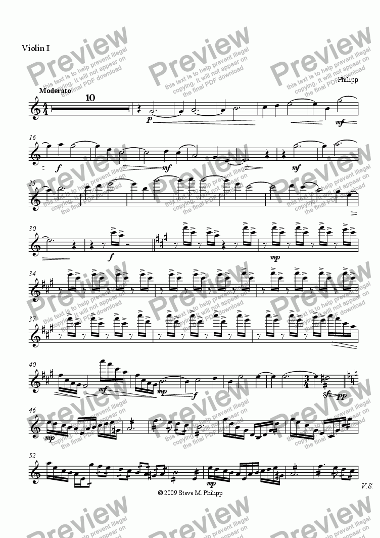page one of the Violin I part from A Story Which Takes Place in the Great Outdoors