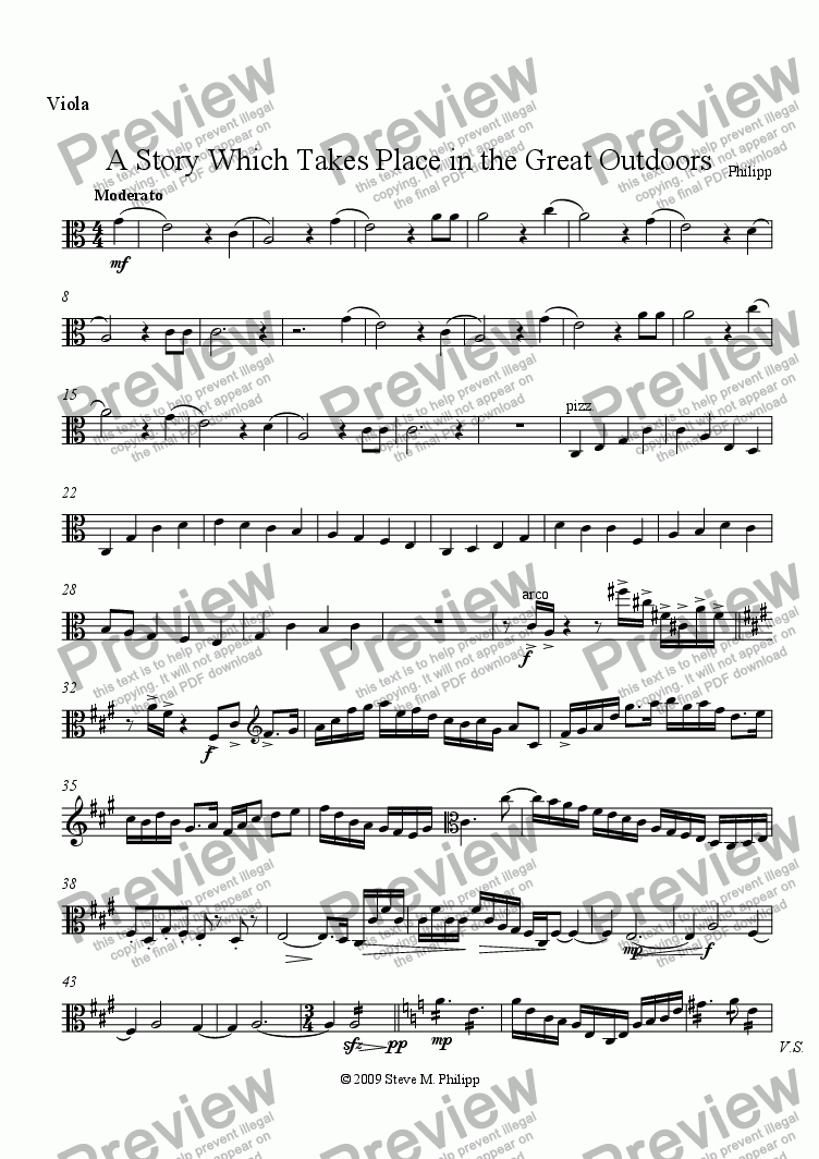 page one of the Viola part from A Story Which Takes Place in the Great Outdoors