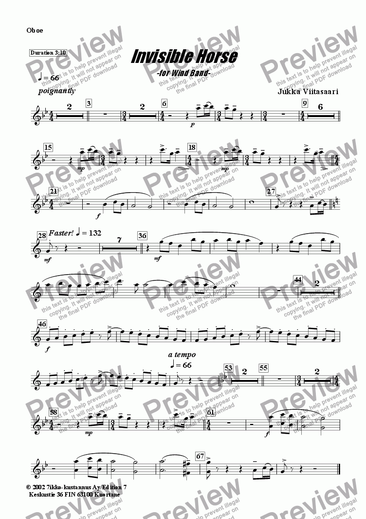 page one of the Oboe part from Invisible Horse (wind band)