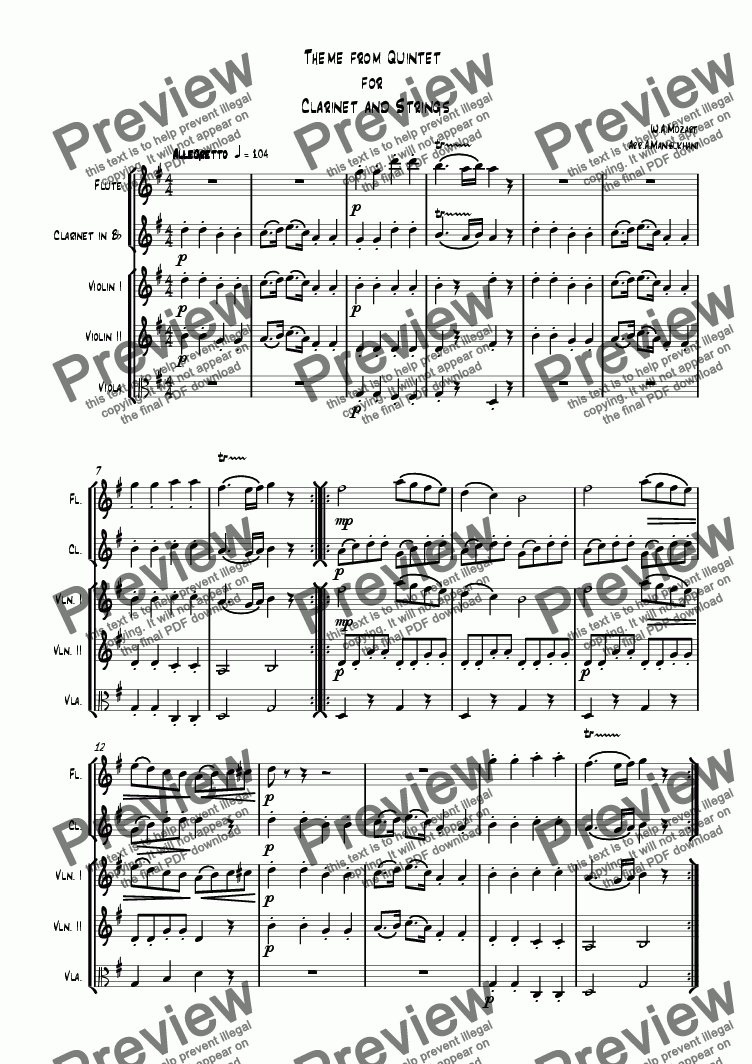page one of the Violin 2 part from Theme from Clarinet Quintet - with Flute, Clarinet and Strings