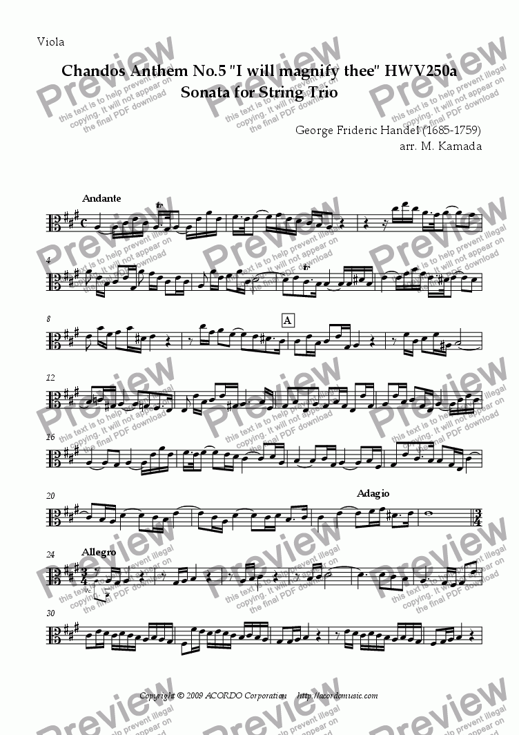 "page one of the Viola part from Chandos Anthem No.5 ""I will magnify thee"" HWV250a Sonata for String Trio"