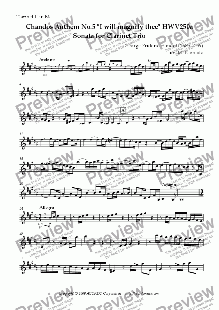 "page one of the Clarinet II in Bb part from Chandos Anthem No.5 ""I will magnify thee"" HWV250a Sonata for Clarinet Trio"