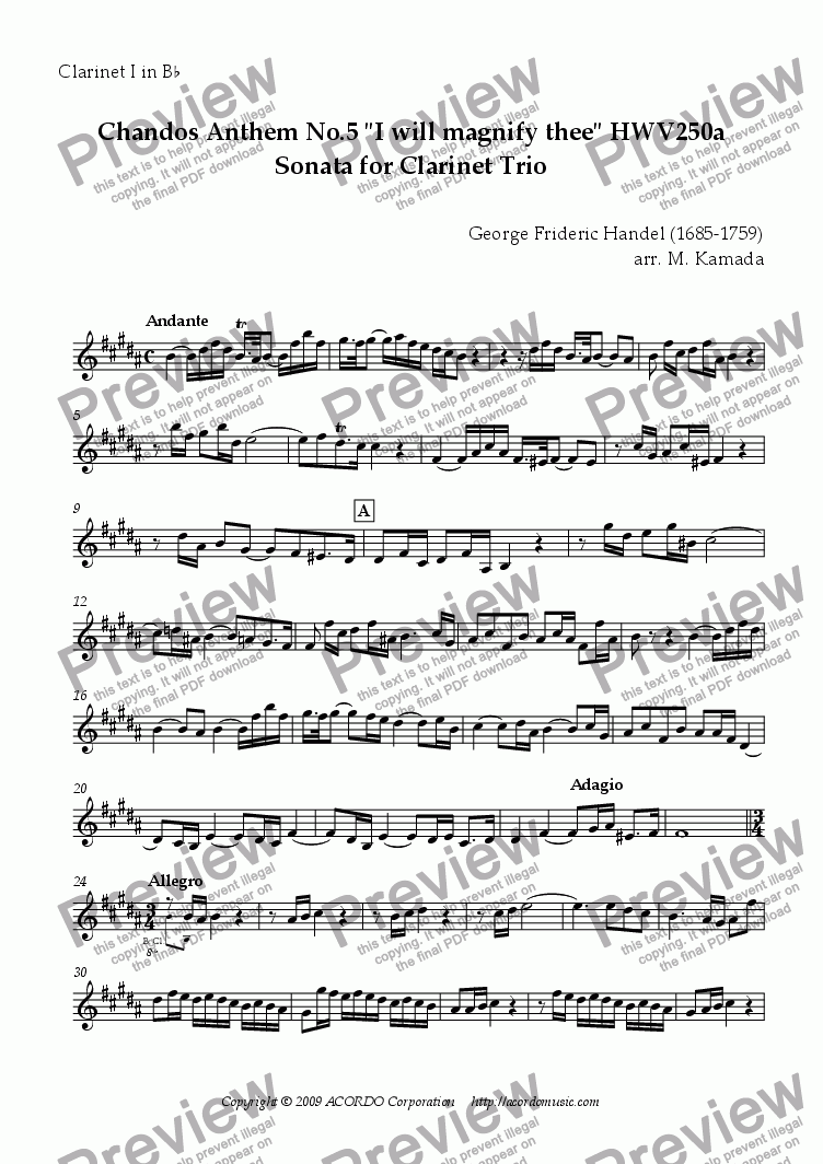 "page one of the Clarinet I in Bb part from Chandos Anthem No.5 ""I will magnify thee"" HWV250a Sonata for Clarinet Trio"