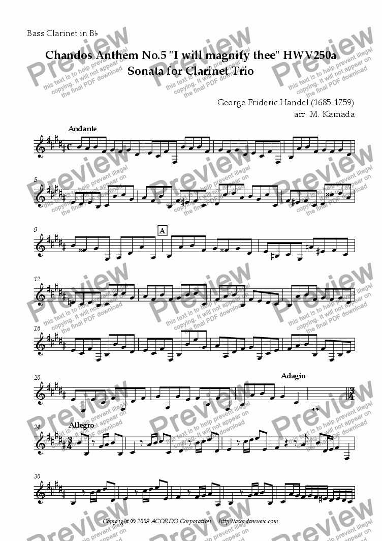 "page one of the Bass Clarinet in Bb part from Chandos Anthem No.5 ""I will magnify thee"" HWV250a Sonata for Clarinet Trio"