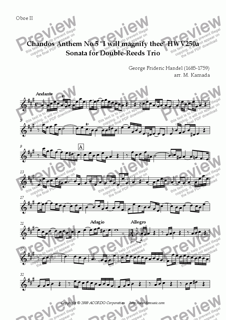 "page one of the Oboe II part from Chandos Anthem No.5 ""I will magnify thee"" HWV250a Sonata for Double-Reeds Trio"