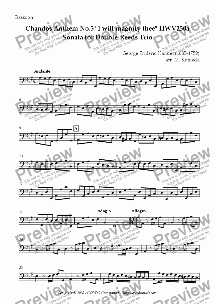 "page one of the Bassoon part from Chandos Anthem No.5 ""I will magnify thee"" HWV250a Sonata for Double-Reeds Trio"