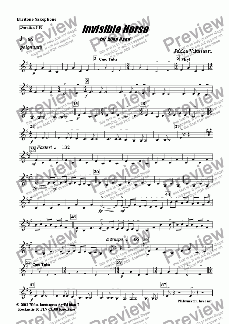 page one of the Bar.Sax. part from Invisible Horse (wind band)