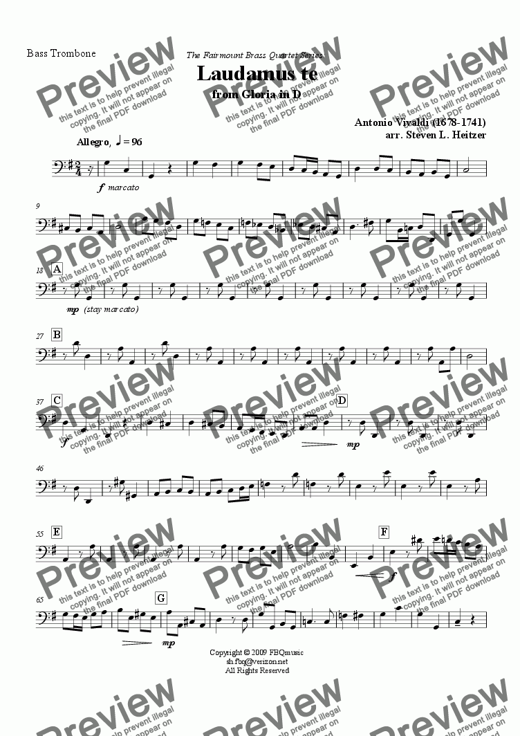 page one of the Bass Trombone part from Laudamus te (from Gloria in D) - Brass QUARTET