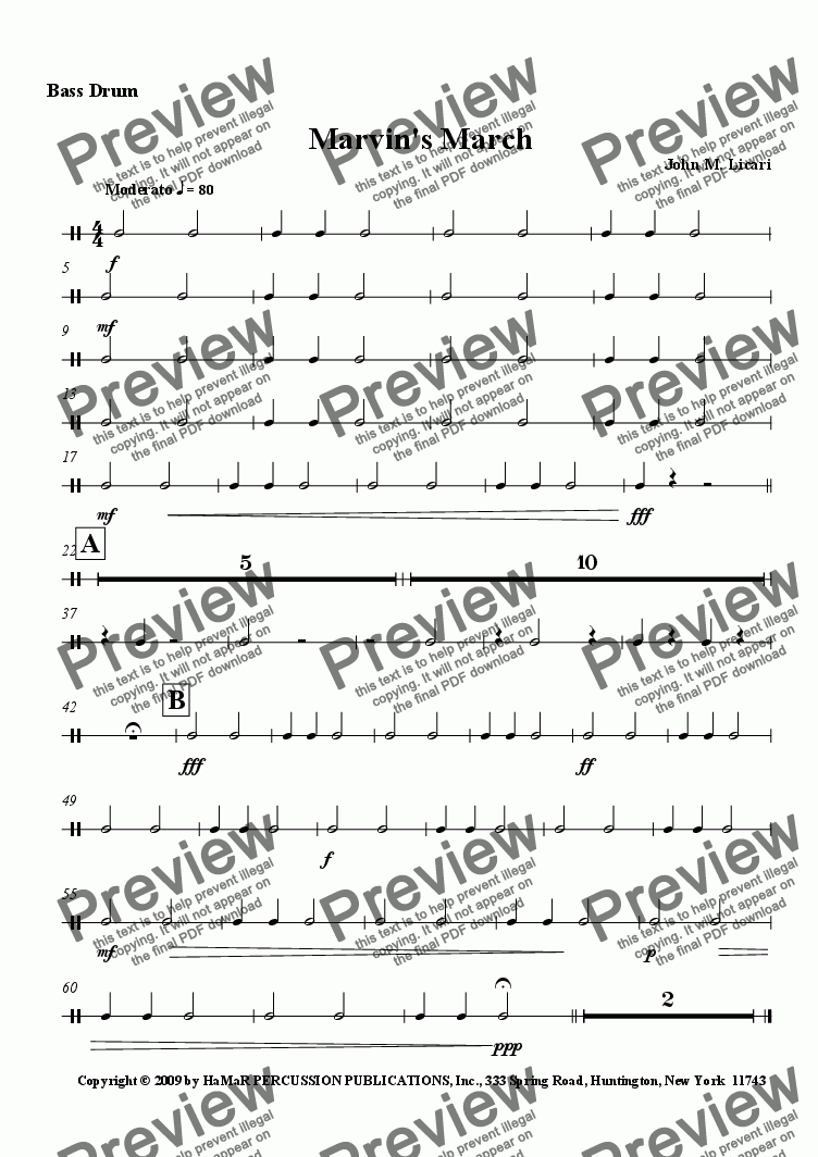 page one of the Bass Drum part from Marvin's March
