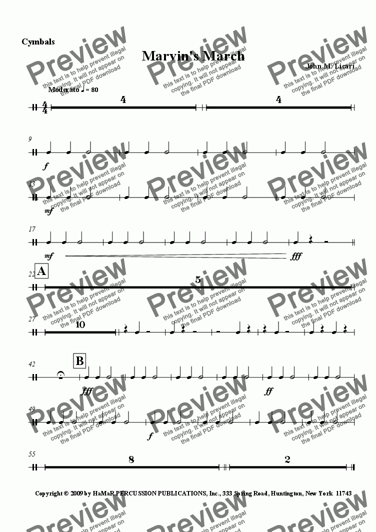 page one of the Cymbals part from Marvin's March