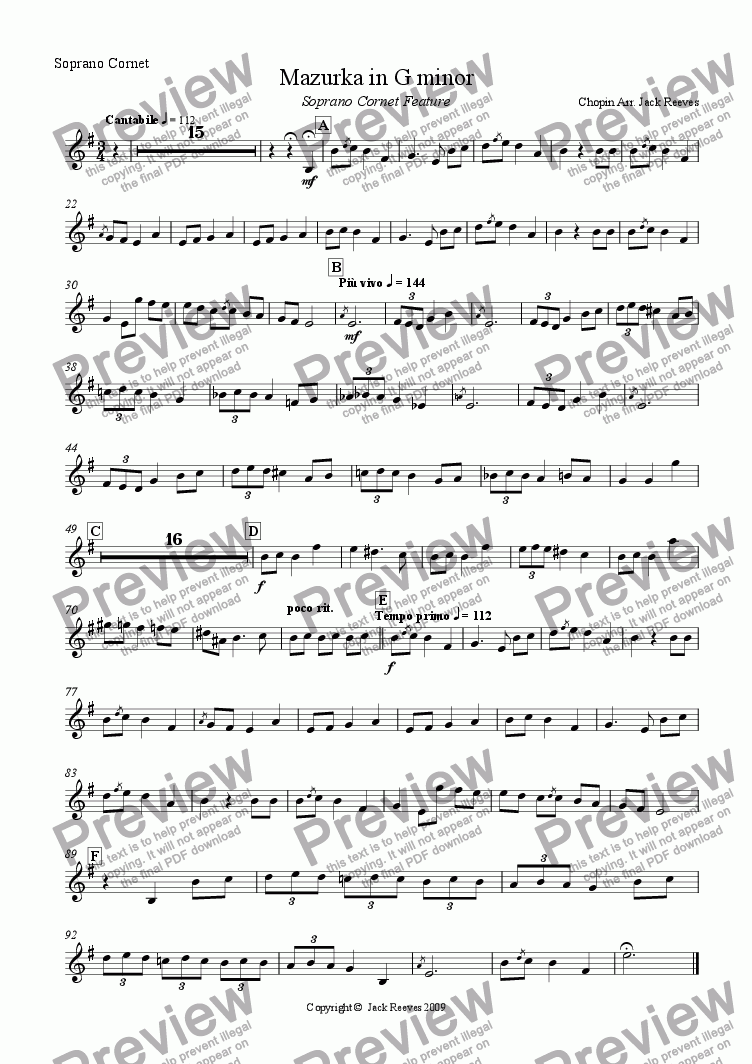 page one of the Soprano Cornet part from Mazurka in G minor - Brass Band (Soprano Cornet feature)