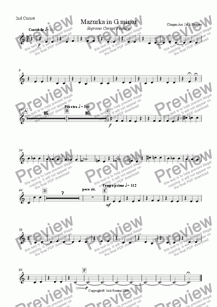 page one of the 2nd Cornet part from Mazurka in G minor - Brass Band (Soprano Cornet feature)
