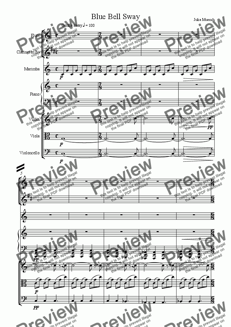 page one of the flute part from Blue Bell Sway Septet