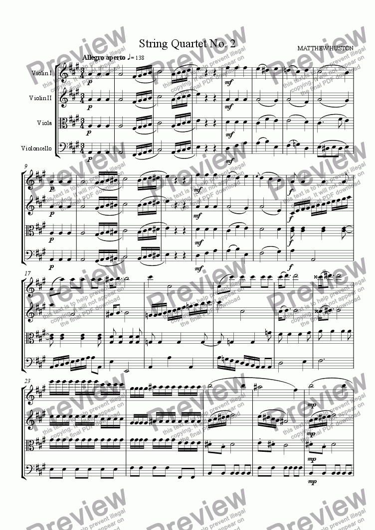 page one of the Violin II part from String Quartet No. 2 (1st mvt)