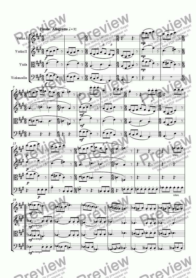 page one of the Violoncello part from String Quartet No. 2 (4th mvt)