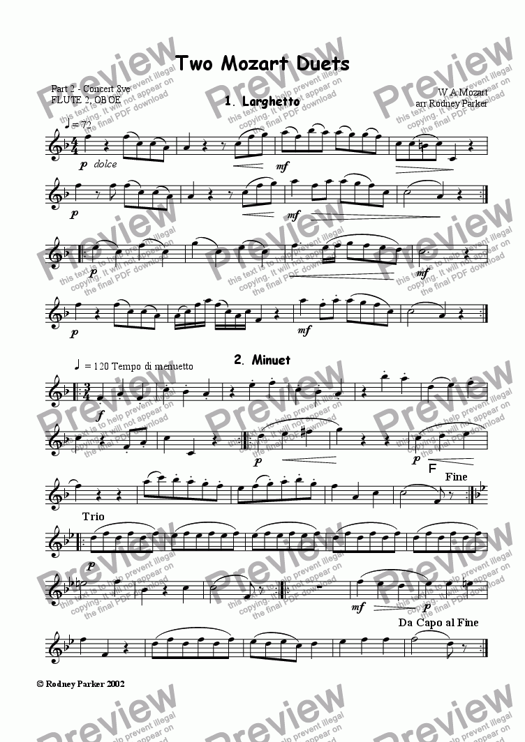 page one of the Part 2 Concert 8ve part from Two Mozart Duets