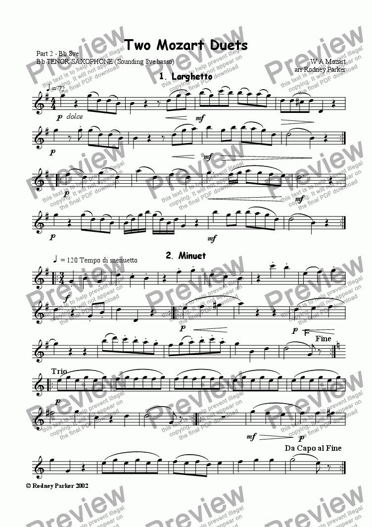 page one of the Part 2 Bb 8ve basso part from Two Mozart Duets