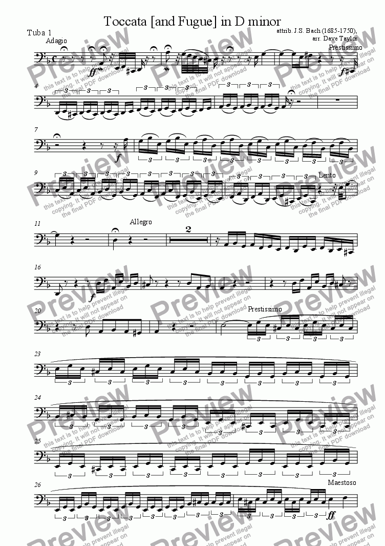 page one of the Bass Tuba 1 part from Toccata [and Fugue] in D minor (tuba quartet)