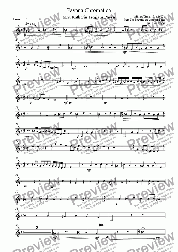 page one of the French horn part from Pavana Chromatica - Mrs Katherin Tregians Paven (brass quintet)