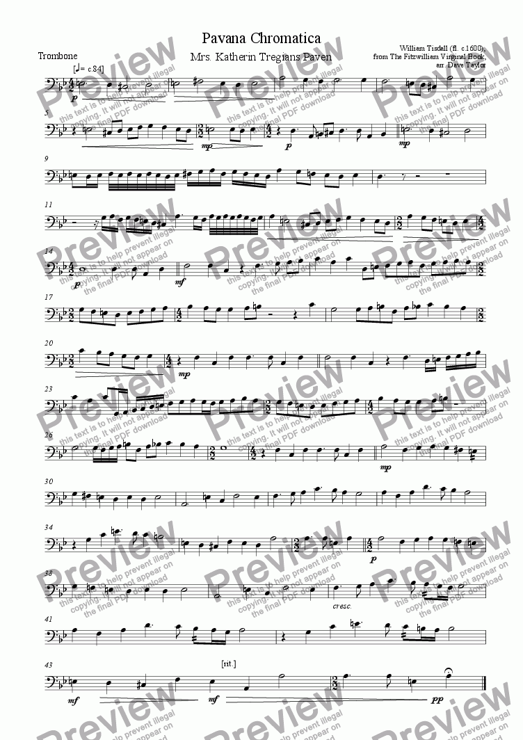 page one of the Trombone part from Pavana Chromatica - Mrs Katherin Tregians Paven (brass quintet)