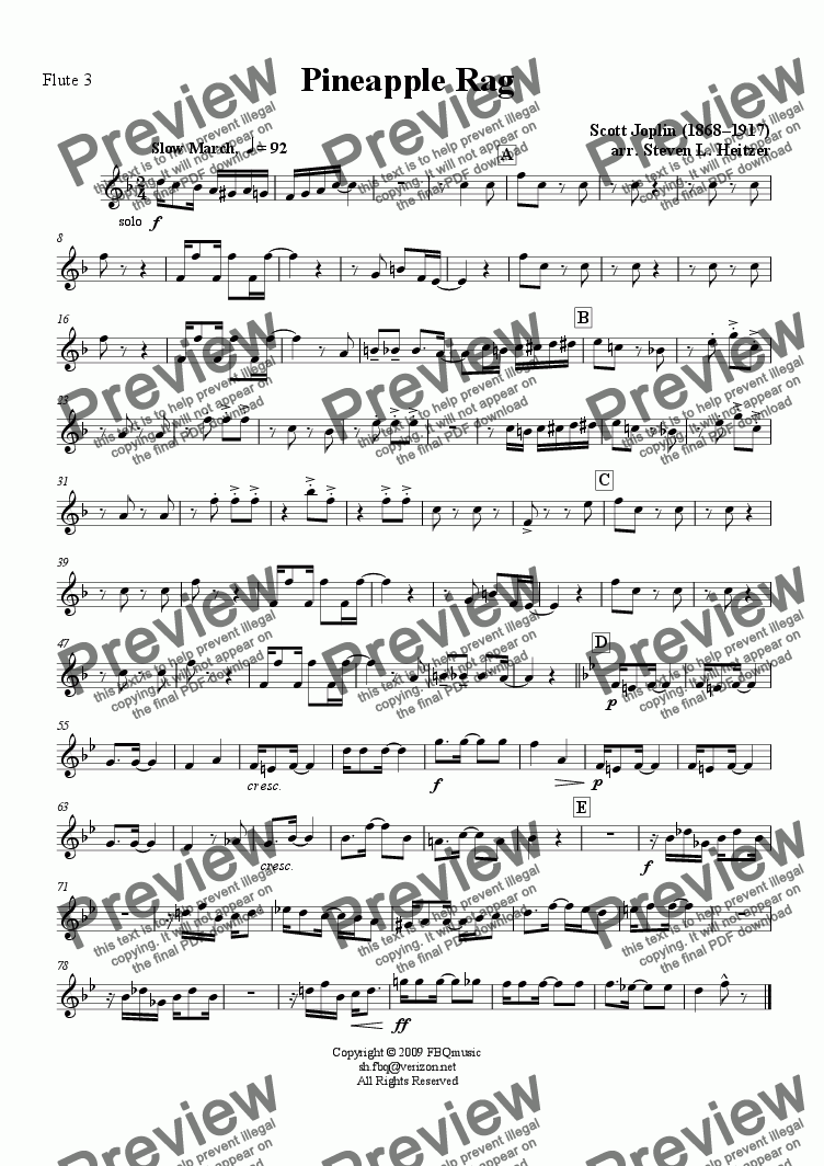 page one of the Flute 3 part from Pineapple Rag - Flute QUARTET