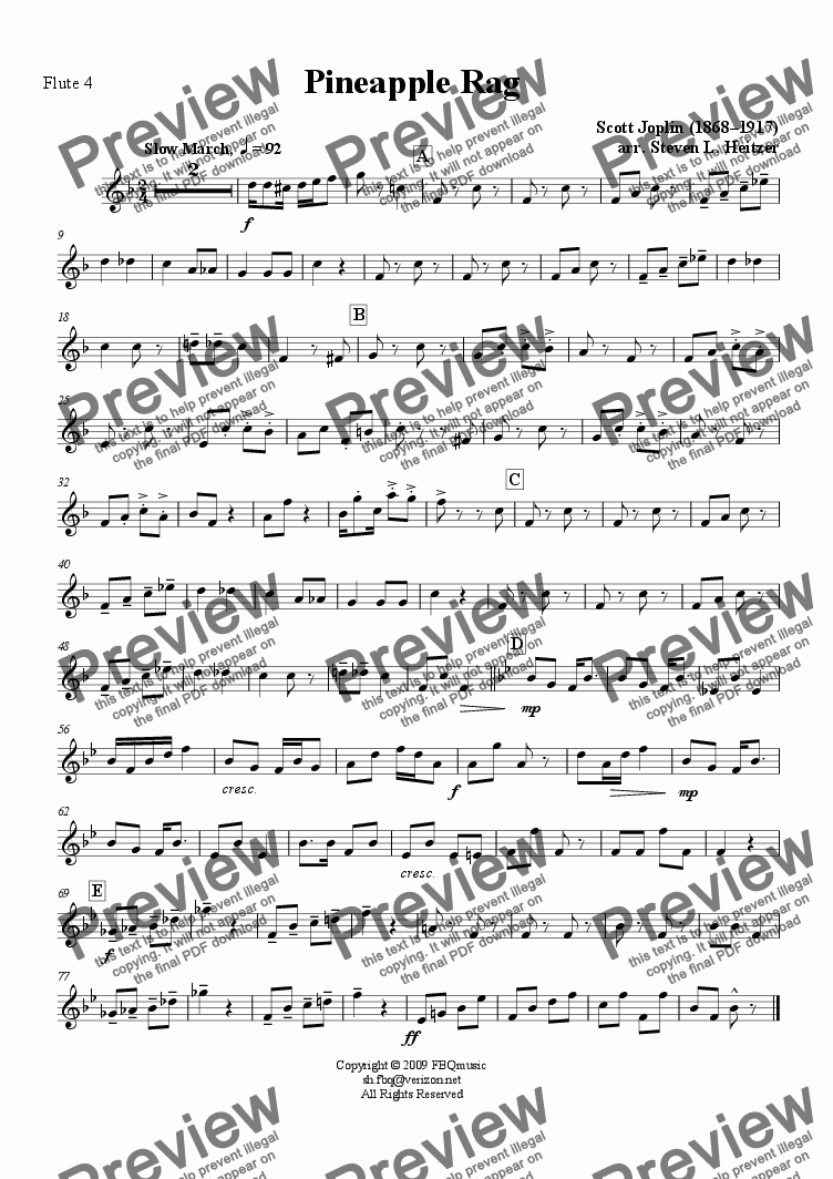 page one of the Flute 4 part from Pineapple Rag - Flute QUARTET