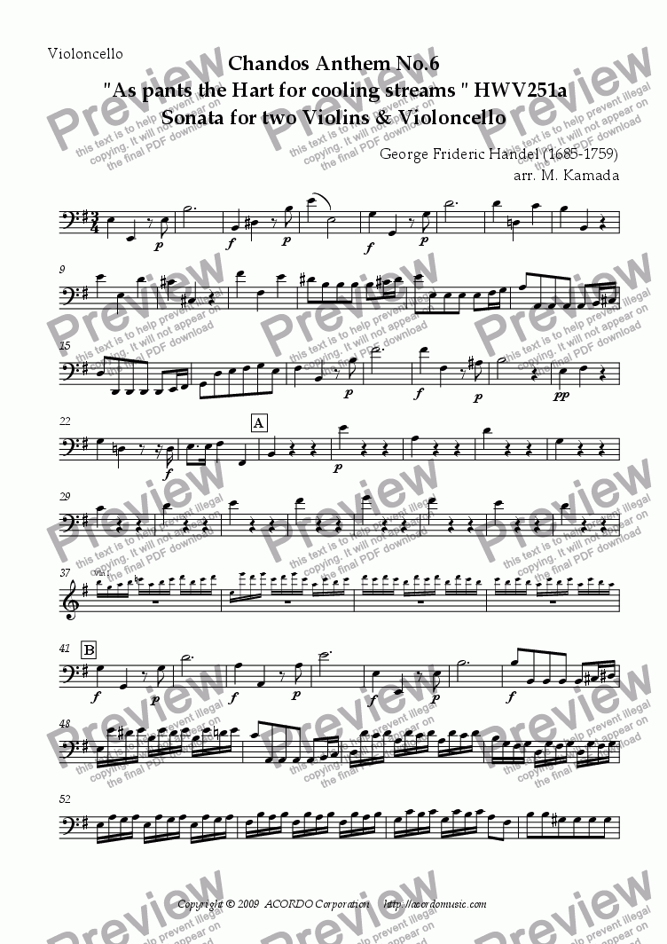 "page one of the Violoncello part from Chandos Anthem No.6  ""As pants the Hart for cooling streams"" HWV251a Sonata for two Violins & Violoncello"