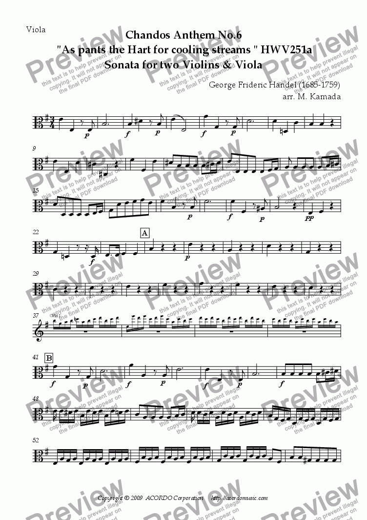"page one of the Viola part from Chandos Anthem No.6  ""As pants the Hart for cooling streams"" HWV251a Sonata for two Violins & Viola"