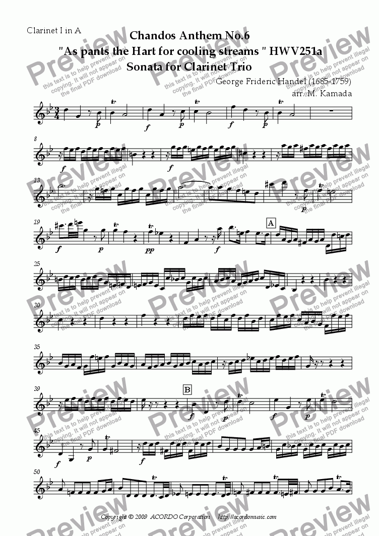 "page one of the Clarinet I in A part from Chandos Anthem No.6  ""As pants the Hart for cooling streams"" HWV251a Sonata for Clarinet Trio"