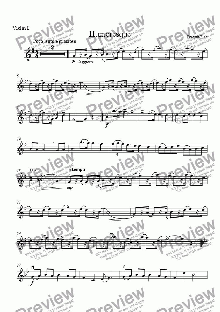page one of the Violin I part from Humoresque