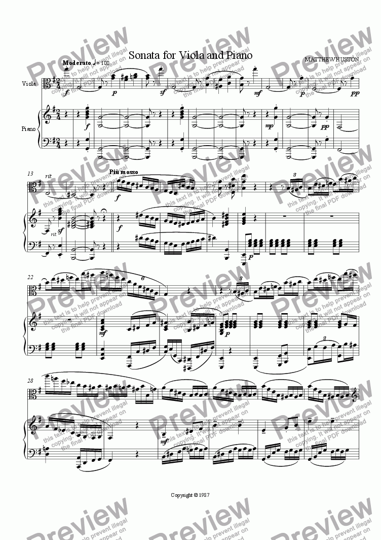 page one of the Viola part from Viola Sonata in E minor (1st mvt)